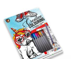 Kleur creatief set Map met fineliners en kleurboek (blauw)