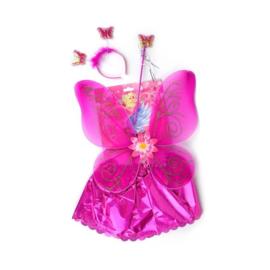 Vleugels rokje, diadeem, donker roze metallic op rok 54 cm