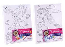 Schilder je eigen Canvas Zeemeermin en Unicorn