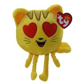 TY Emoji kat met hart oogjes. Afmeting 15cm