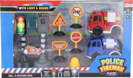 Speelset Politie En Brandweer 9-delig