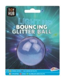Glitter stuiter bal lichtgevend (BLAUW)
