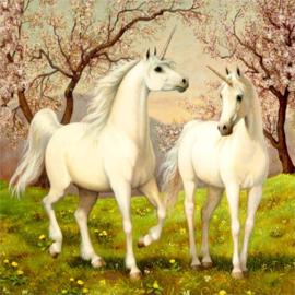 Diamond Painting 5D - Eenhoorns - 30x30 cm