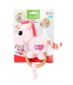 LITTLE STARS Baby rammelaar met houten bijtring 'Unicorn'+