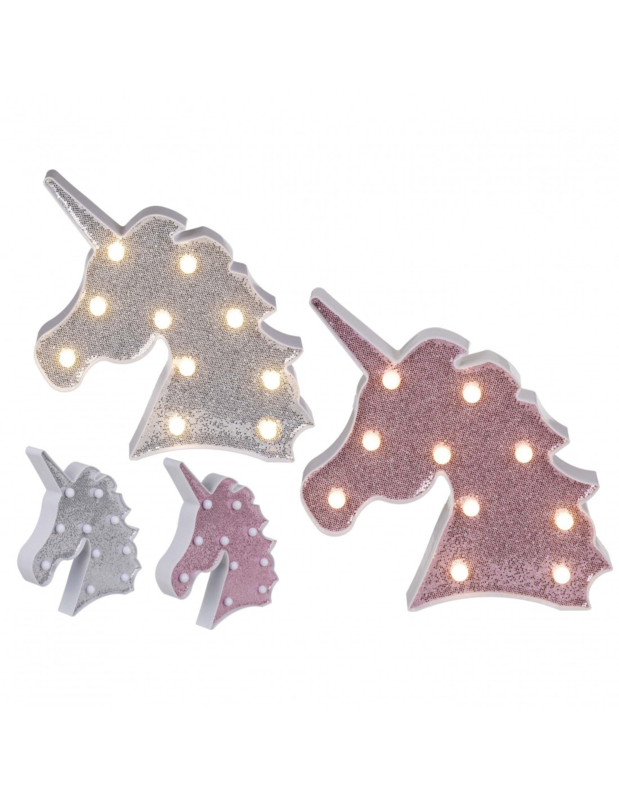 Plastic Eenhoorn ( Unicorn) lamp ( ZILVER)  Glitter