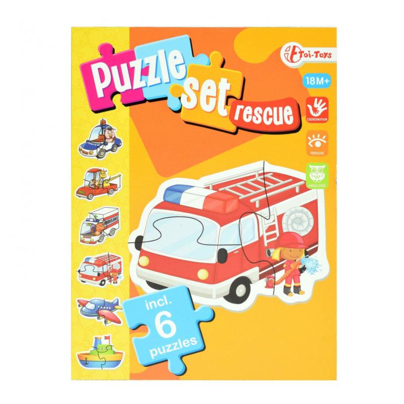 Puzzel set reddingsvoertuigen