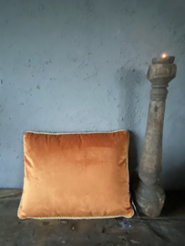 Kussen fluweel goud/oranje 45 x 35 cm