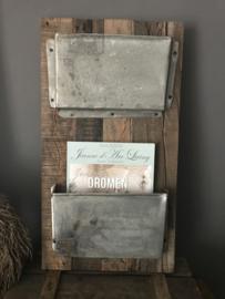 Tijdschriftenhouder hout/metaal