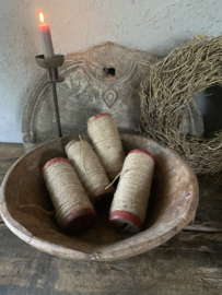 Oude houten klos touw