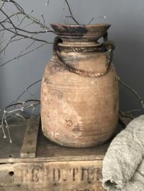 Oude houten Nepalese kruik -  29 cm