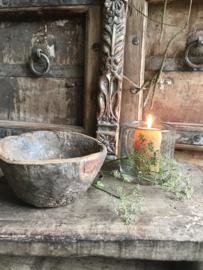 Oude houten vijzelpot - klein