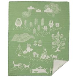 *Wiegdeken katoen Little Bear groen - Klippan*