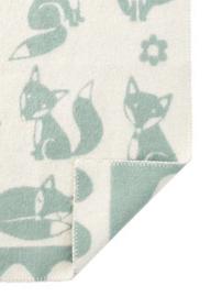 *Wiegdeken wol Fox blauwgroen - Klippan*