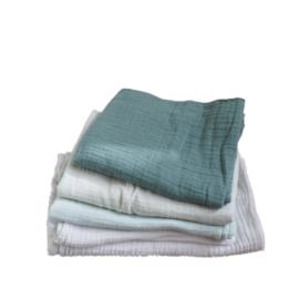 5 tetradoeken groen/mint/wit