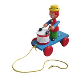 Trekspeeltje clown met trommel - Vintage