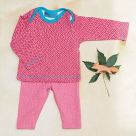 Legging stipjes + longsleeve roze bloemen