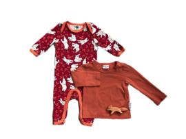 Longsleeve oranje + jumpsuit olifanten