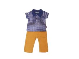 Broek babyrib + polo blauw patroon