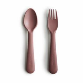 *Besteksetje vork en lepel Woodchuck - Mushie*