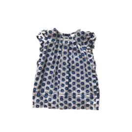 68 - kleedje grijs met blauwe bollen - C&A