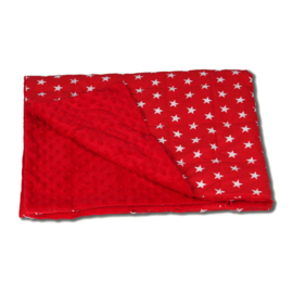 Rood dekentje  met witte sterren