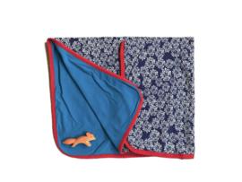 Dekentje blauw met bloemen - Froy & Dind