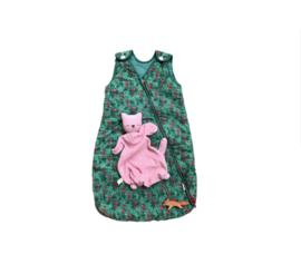 Slaapzak flamingo's + popje kat