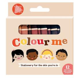 12 verschillende huidskleuren krijtjes - Colour me kids