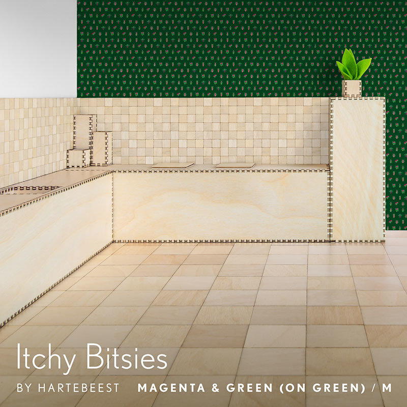 Itchy Bitsies - Magenta & Green (on Green)