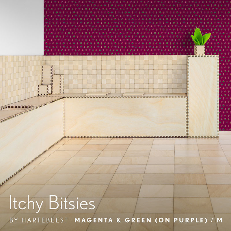 Itchy Bitsies - Magenta & Green (on Purple)