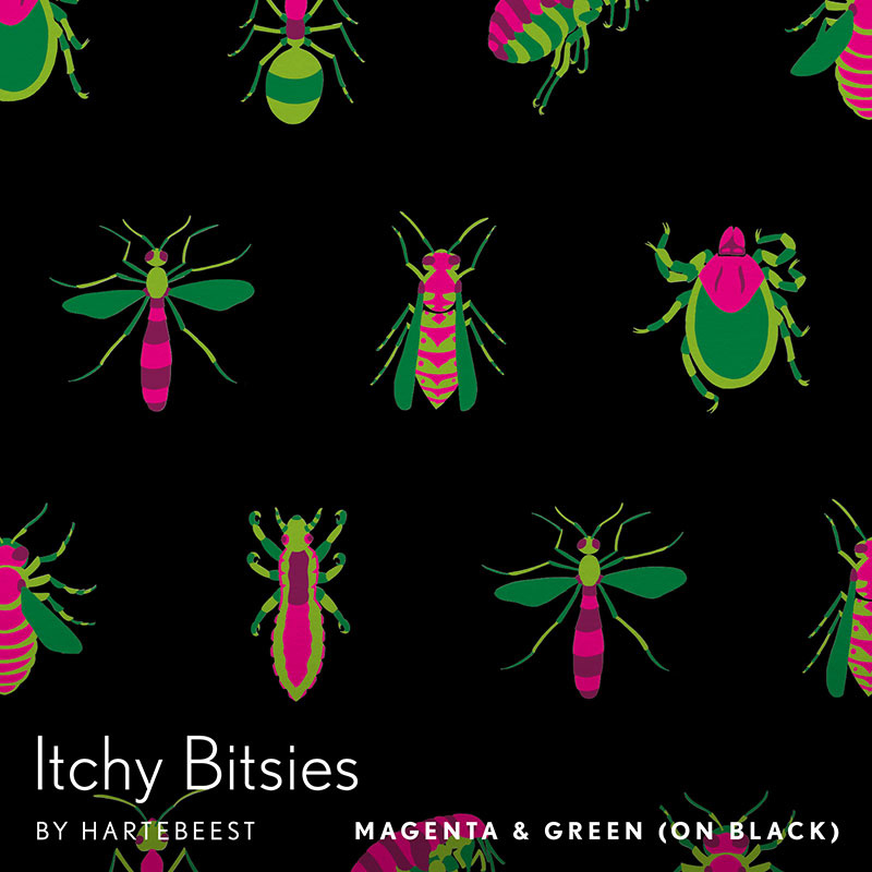 Itchy Bitsies - Magenta & Green (on Black)