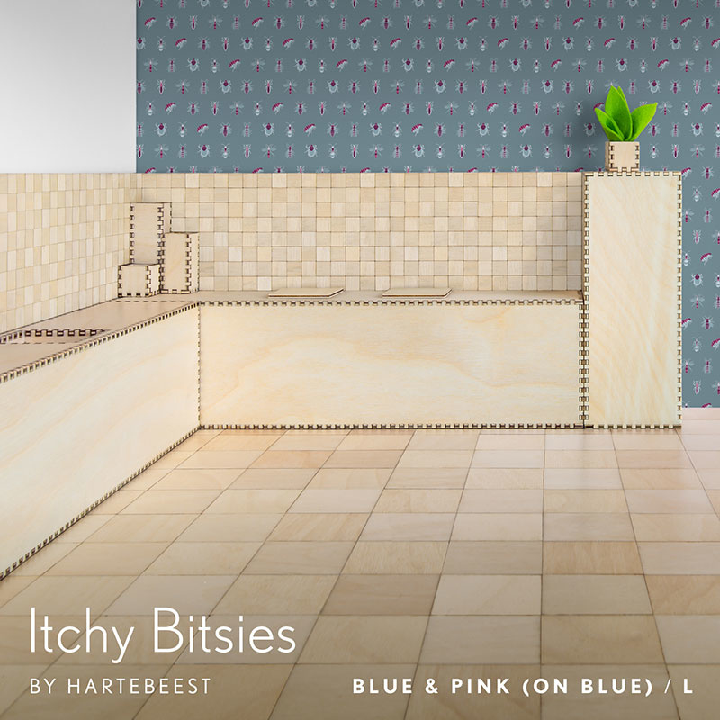 Itchy Bitsies - Blue & Pink (on Blue)