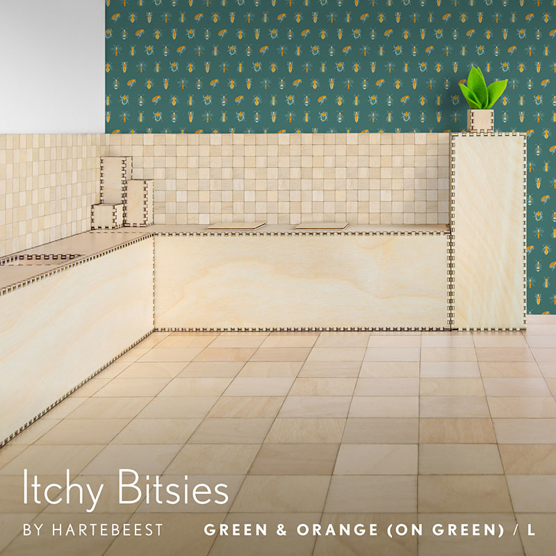Itchy Bitsies - Green & Orange (on Green)
