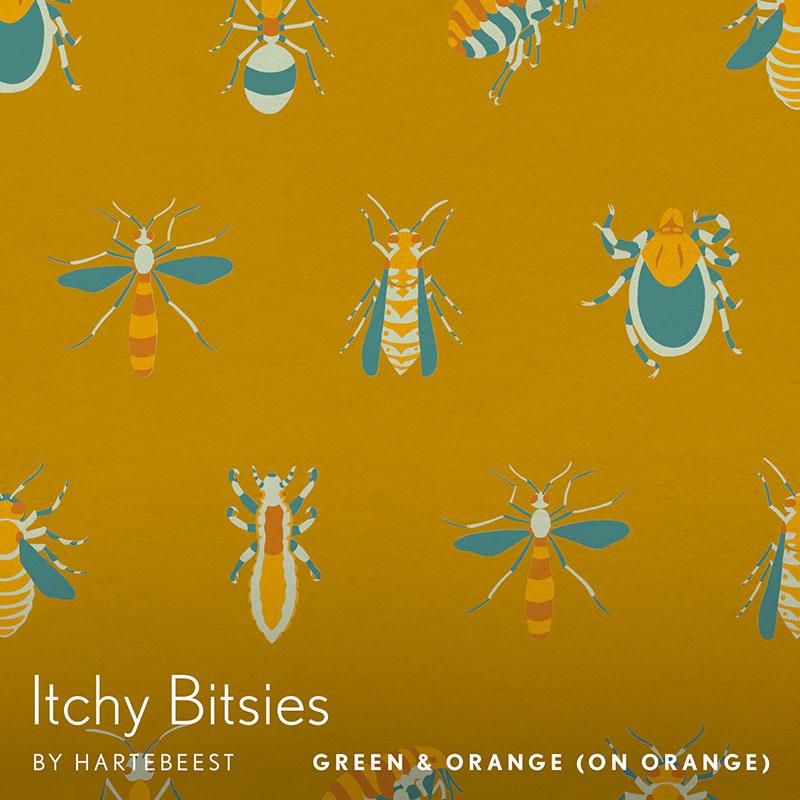 Itchy Bitsies - Green & Orange (on Orange)