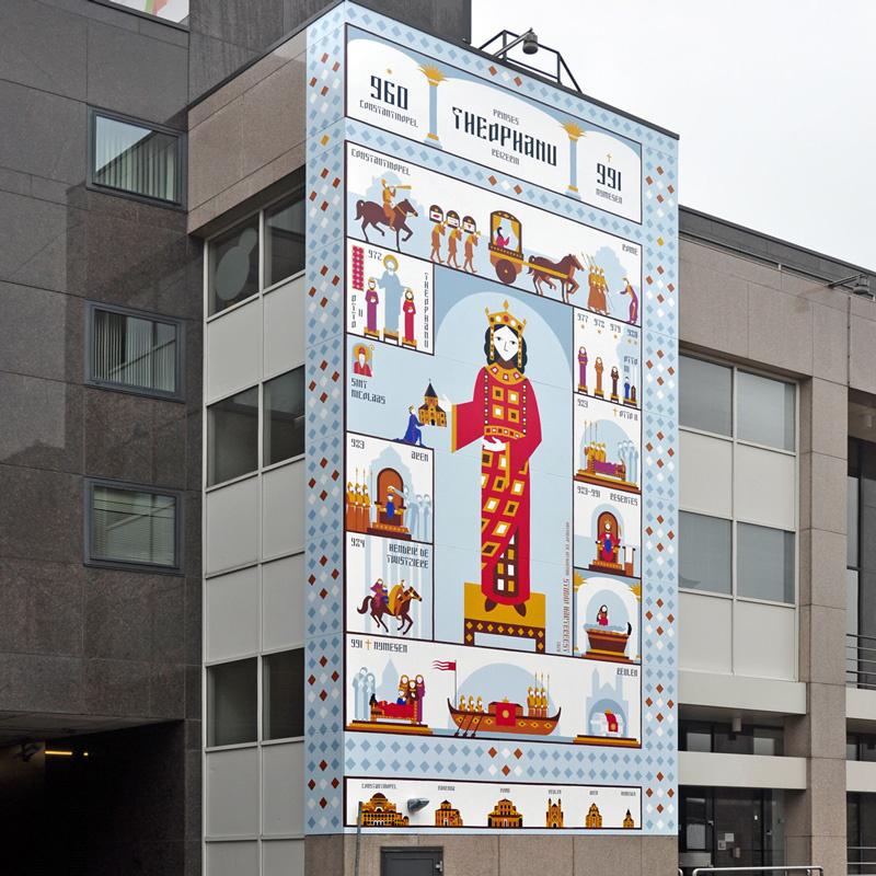 Theophanu: muurschildering aan de Waalkade in Nijmegen