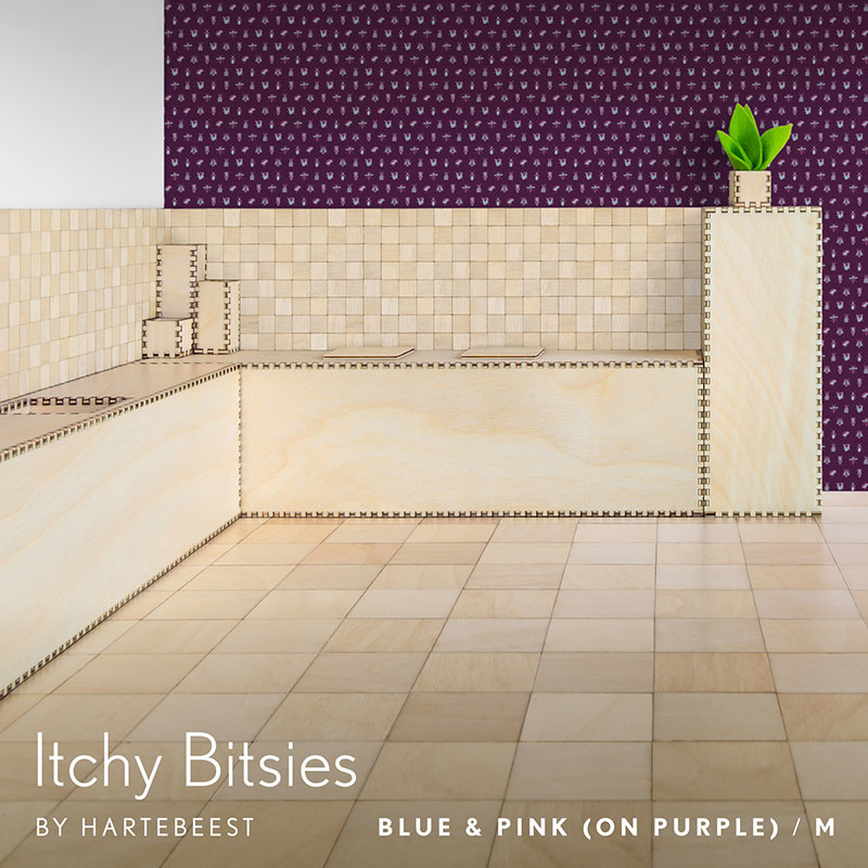 Itchy Bitsies - Blue & Pink (on Purple)