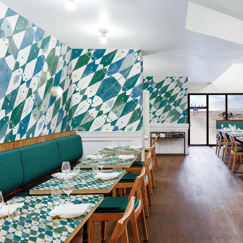 Wandbekleding visrestaurant met 'Fixed Fish'