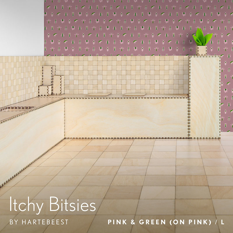 Itchy Bitsies - Pink & Green (on Pink)