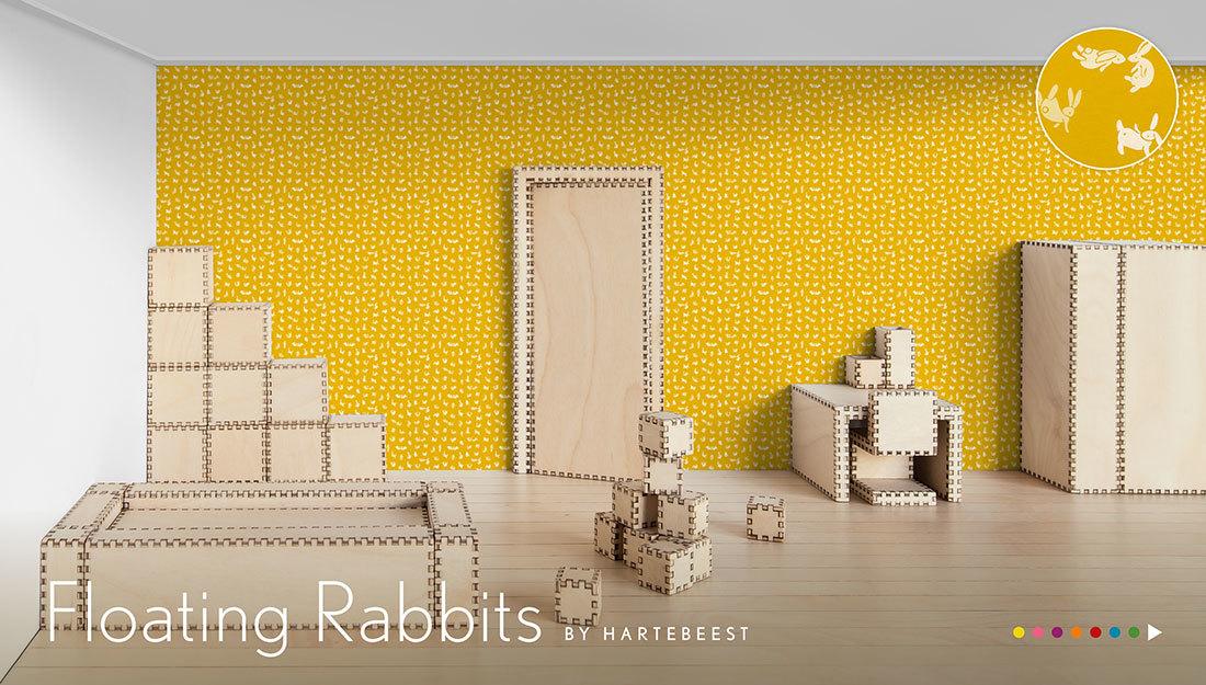 Floating Rabbits - behang met zwevende konijntjes