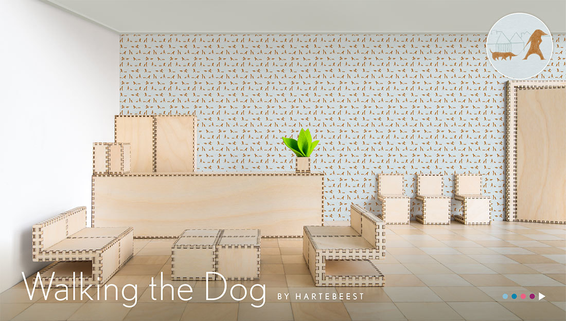 Walking the Dog - behang met honden en baasjes