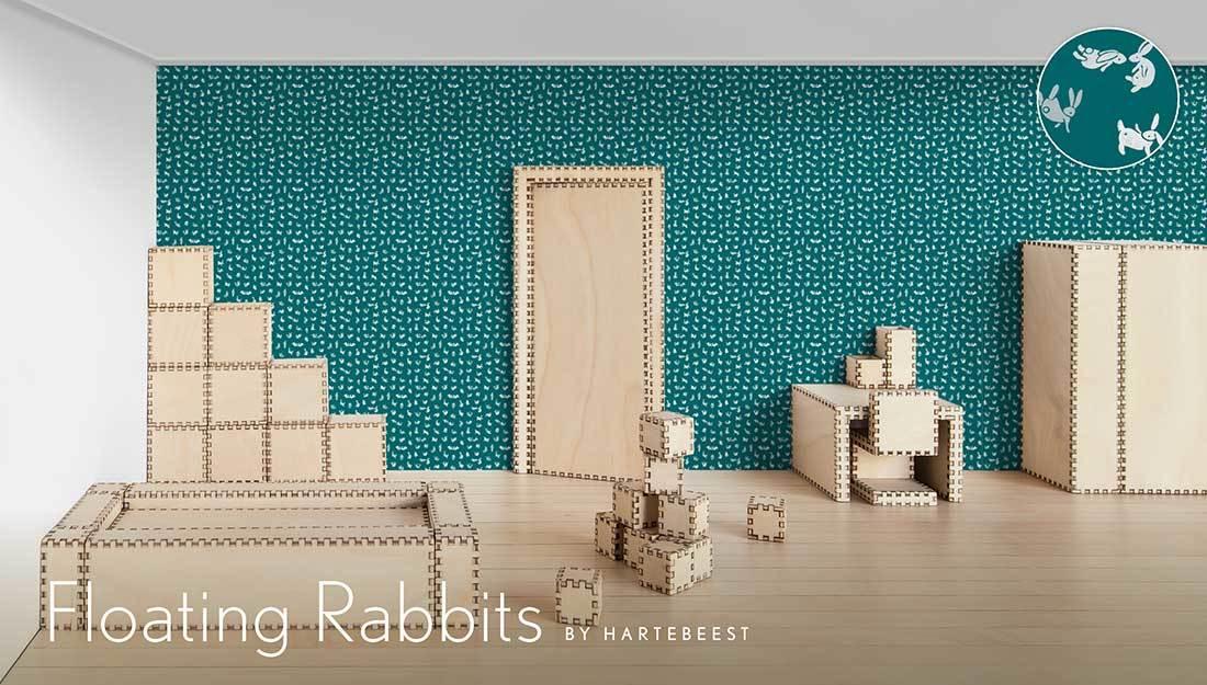 Floating Rabbits - Blue