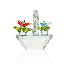 Crystal Basket of Flowers Design B - Small