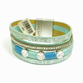 Life Charms Row Turquoise Crystal Wrap Bracelet
