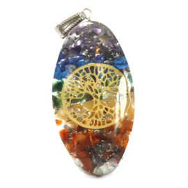 7 Stone Chakra Oval with Tree Hanger