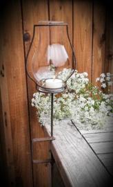 Klemlantaarn met glas roestkleur