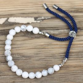 Edelsteen Navy String Armband - White Howlite
