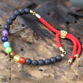 Edelsteen Royal String Armband - Lava stone Chakra