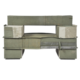 Enormous Upholstered Beam Armchair in Army Fabric