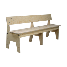 Crisis Bench with Back 240cm Un-lacquered