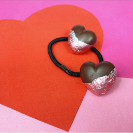 Haarelastiek - chocolade hart